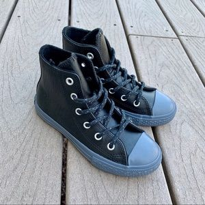 Converse leather black gray high tops